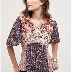 HD Paris Anthropologie Patch work floral blouse